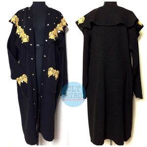 90s Black Gold Studded Sweater Duster Cardigan